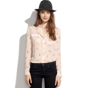 Madewell bird chiffon  long sleeve blouse